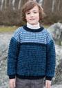 Для мальчика 4-12 лет. Пуловер с узорами в полоску. Спицы