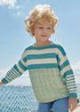 Для мальчика 2-10 лет. Пуловер с сочетанием узоров и полосок. Спицы