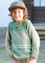 Для мальчика 2-6 лет. Пуловер из хлопковой пряжи в зелено-голубых тонах. Спицы