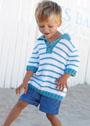Для мальчика 4-14 лет. Полосатый пуловер с застежкой поло. Спицы