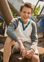 Для мальчика 8-15 лет. Хлопковый пуловер с застежкой поло. Спицы