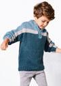 Для мальчика 4-12 лет. Трехцветный пуловер с застежкой-молнией на горловине. Спицы