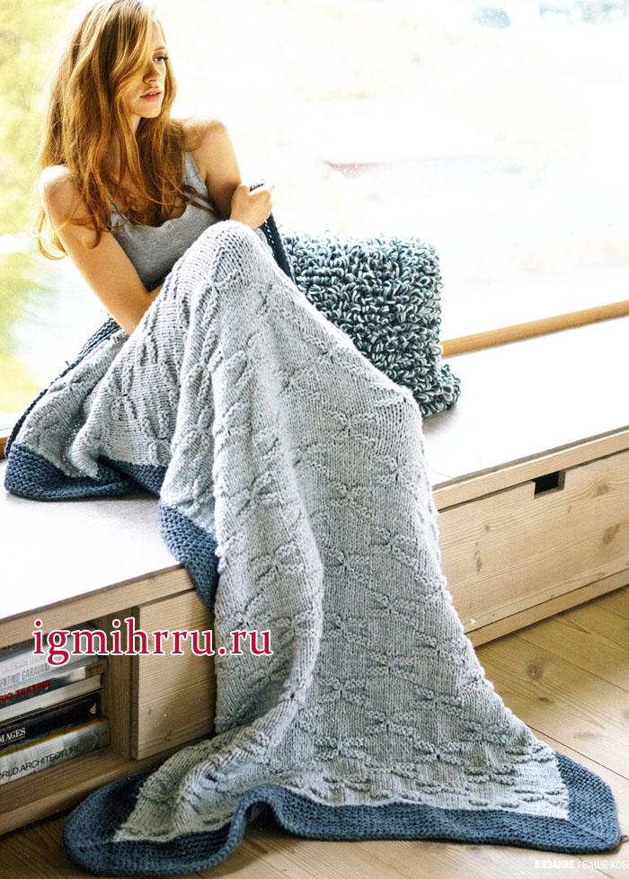 Теплый мягкий плед и подушка в серых тонах. Вязание спицами