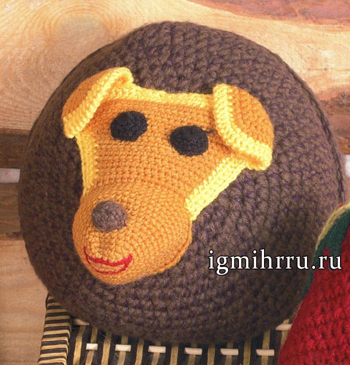 Подушка-игрушка Обезьянка. Вязание крючком