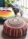 Разноцветные пуфы в круговую и продольную полоски. Крючок