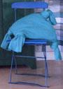 Бирюзовая подушка с завязанными уголками. Спицы