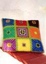 Подушка из разноцветных квадратов. Крючок
