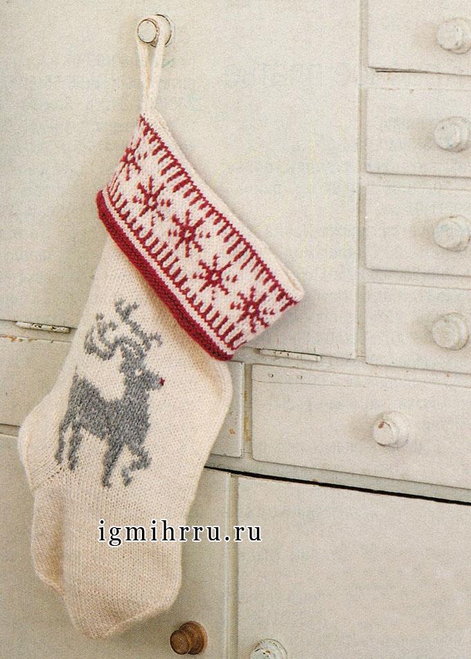 Рождественский носок для подарков, от финских дизайнеров. Спицы