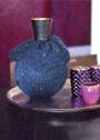 Синий чехол для вазы. Спицы