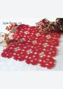 Красная ажурная салфетка с маленькими золотистыми звездочками. Крючок
