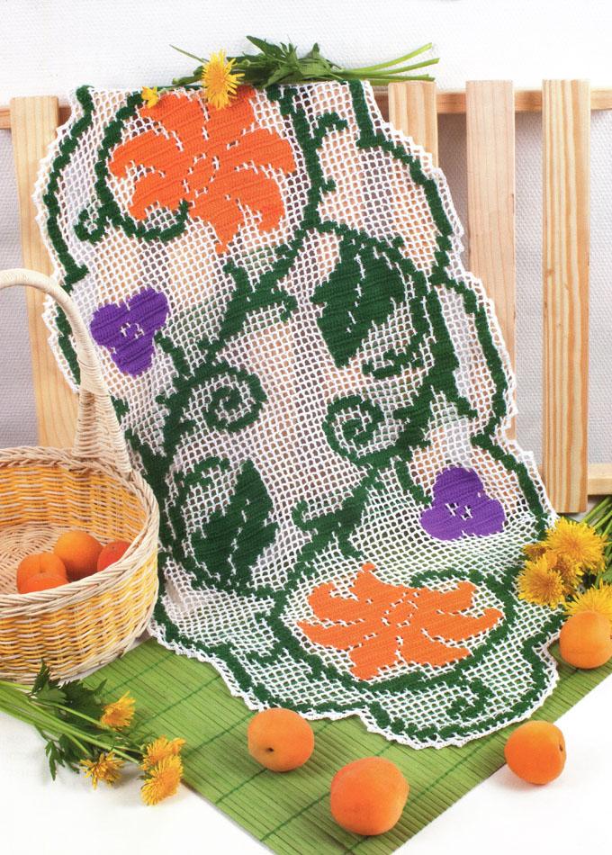 Филейное вязание. Салфетка с цветами. Вязание крючком