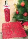 Красивые предметы для украшения новогоднего стола: салфетка и чехол на бутылку. Крючок
