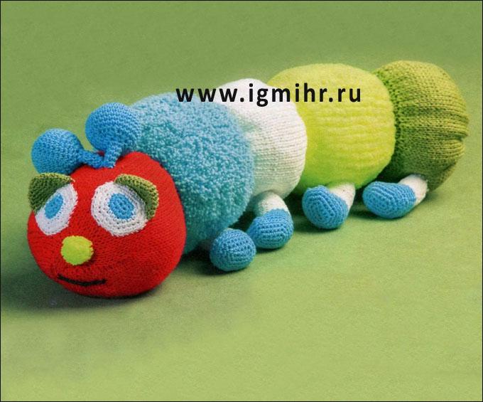 Развивающая игрушка-гусеница. Спицы и Крючок