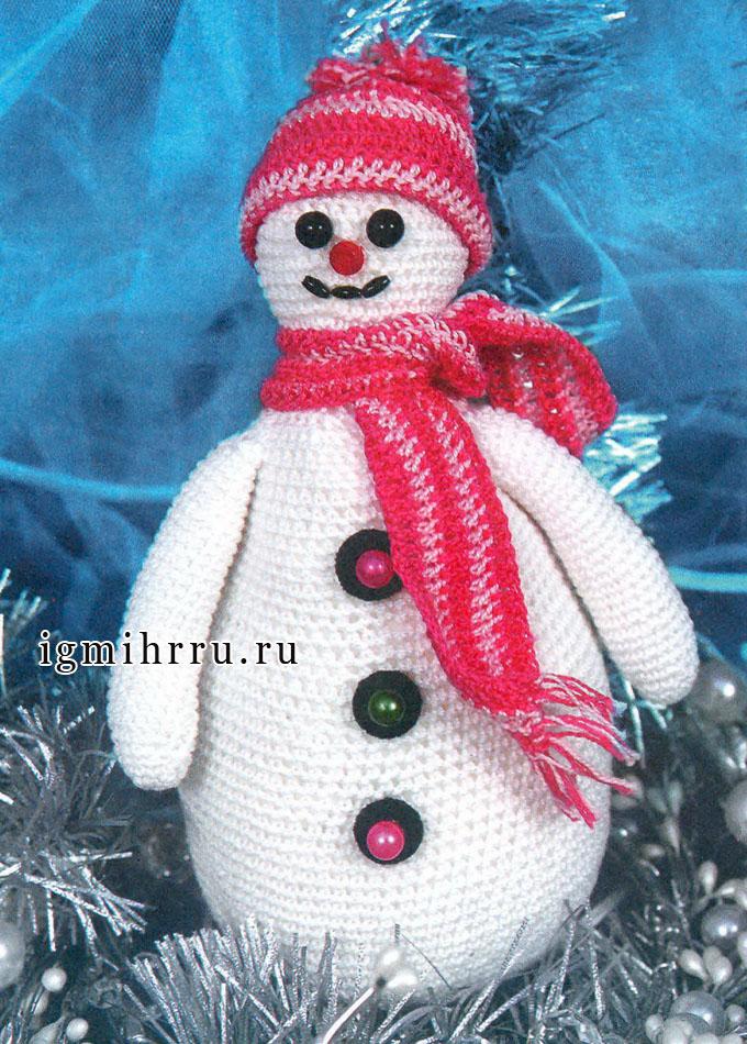 К Новому Году! Снеговик в шапочке с шарфиком. Крючок