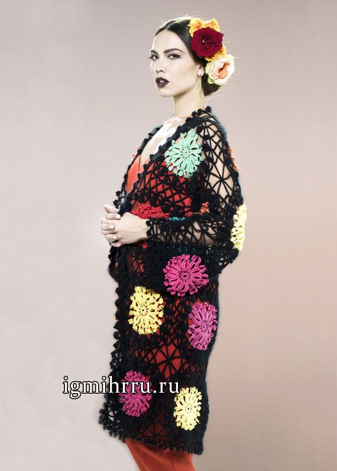 Кружевной кардиган с мотивами из цветов, от французских дизайнеров. Вязание крючком