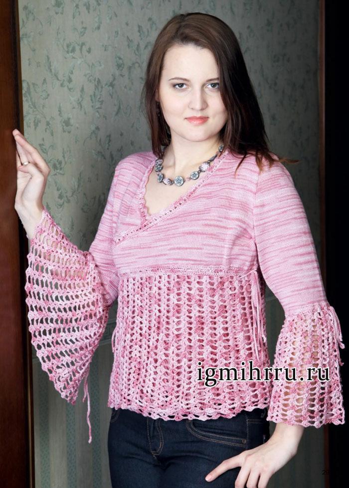 Жакет из розовой пряжи секционного окрашивания, с ажурной отделкой. Вязание крючком и спицами