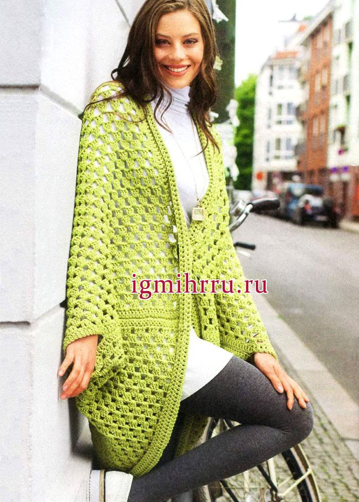 Шерстяной зеленый жакет прямого силуэта и простой вязки, от немецких дизайнеров. Вязание крючком