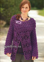 Шерстяной фиолетовый жакет из цветочных мотивов. Крючок