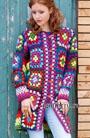 Удлиненный шерстяной жакет из разноцветных полос и бабушкиных квадратов. Крючок