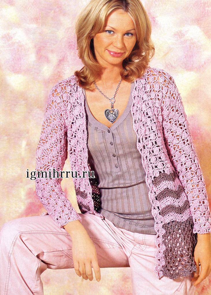 Летний розово-серый жакет из ажурных и зигзагообразных узоров. Вязание крючком