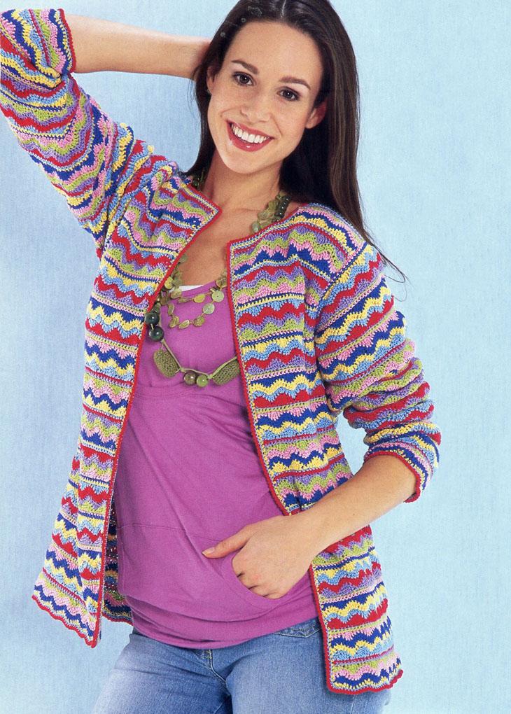Разноцветный летний жакет с волнистым узором. Вязание крючком