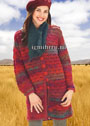 Для межсезонья. Удлиненный красный жакет с узором из ракушек, дополненный шарфом. Крючок