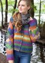 Шерстяной многоцветный жакет с плетеным узором. Крючок