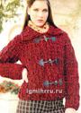 Красная куртка с отложным воротником и декоративными застежками. Крючок