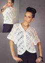 Белый жакет-кимоно из круглых мотивов. Крючок