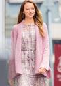 Розовый теплый кардиган с цельнокроеным воротником и карманами. Крючок