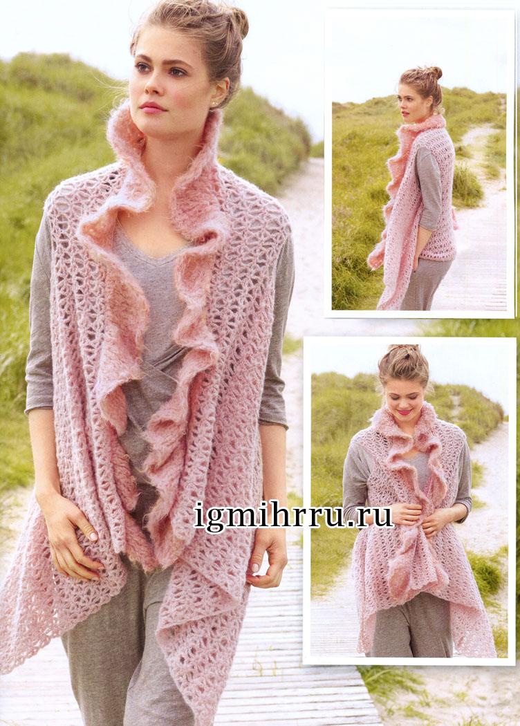 Эффектный ажурный жилет розового цвета, связанный поперек и украшенный воланами. Вязание крючком