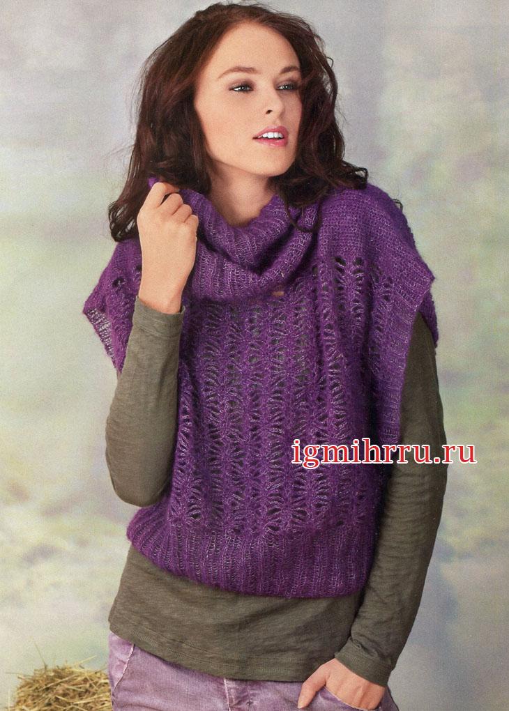Свободная фиолетовая безрукавка, дополненная воротником-хомутом. Вязание крючком