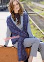 Синий жилет-шарф с длинными полочками. Крючок