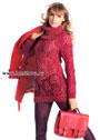 Ажурный красный пуловер, дополненный широким воротником. Крючок и Спицы