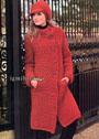 Удобное и теплое пальто и шапочка из объемной шерстяной пряжи. Крючок