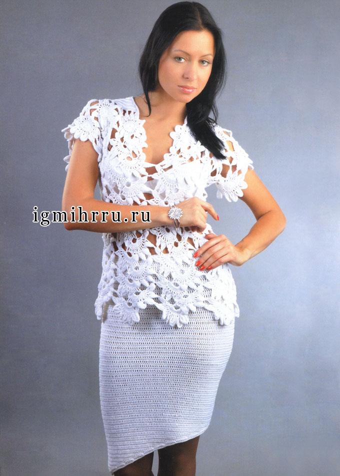 Нарядный праздничный костюм белого цвета: ажурная кофточка и асимметричная юбка. Крючок