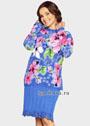 Нарядный комплект: джемпер в стиле фриформ и синяя юбка с каймой. Крючок и спицы