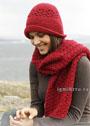 Комплект цвета красного вина: шляпка с полями и шарф. Крючок