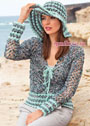 Модный летний комплект: меланжевый ажурный жакет и шляпа с большими полями. Крючок