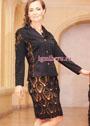 Эффектный костюм черного цвета: юбка и жакет с узорами из ананасов. Крючок