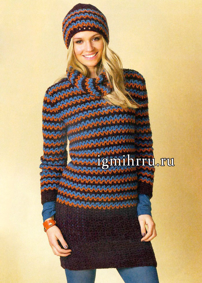 Теплый полосатый пуловер, дополненный шарфом-петлей и шапочкой, от немецких дизайнеров. Вязание крючком
