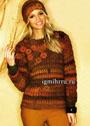 В оттенках поздней осени. Пуловер из меланжевой пряжи и шапочка, украшенные вязаными  цветами. Крючок