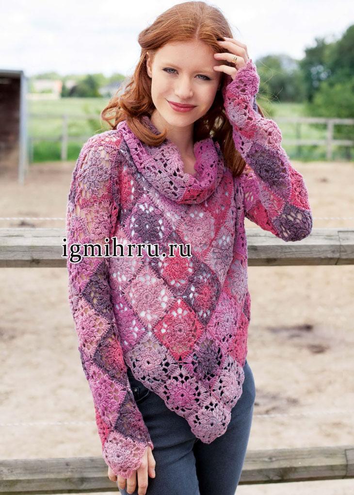 Пуловер в сиренево-розовых тонах, из бабушкиных квадратов, дополненный шарфом-петлей. Вязание крючком
