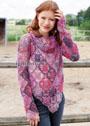 Пуловер в сиренево-розовых тонах, из бабушкиных квадратов, дополненный шарфом-петлей. Крючок