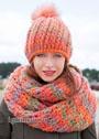 Теплая шапочка и шарф крупной вязки. Крючок