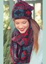 Разноцветные шапочка и шарф с бабушкиными квадратами. Крючок