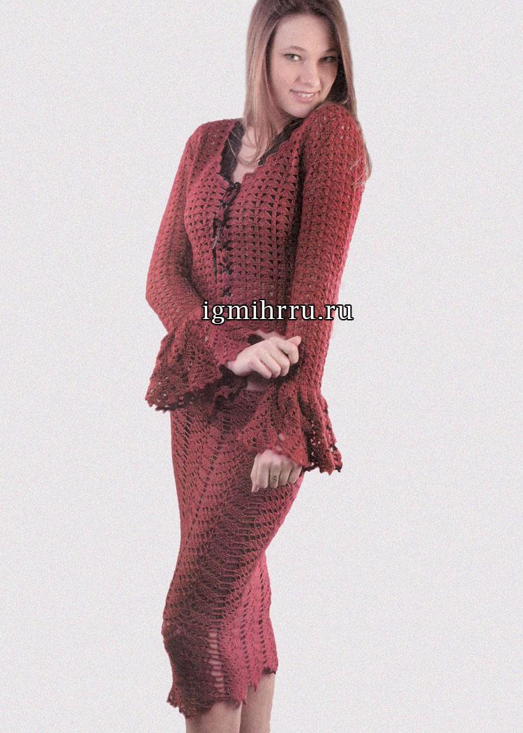 Элегантный и романтичный бордовый костюм: прямая юбка и жакет с кружевными манжетами. Вязание крючком