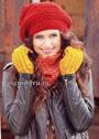 Комплект в желто-красных тонах: шапка, митенки и снуд. Крючок