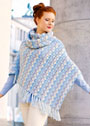 Теплый комплект в голубых тонах: пончо и шарф-петля с веерным узором. Крючок