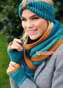 Комплект теплых вязаных аксессуаров: митенки, шарф и налобная повязка. Крючок